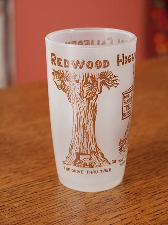 Vintage Redwood Highway 101 California Souvenir Glass - Illustrated Juice Glass
