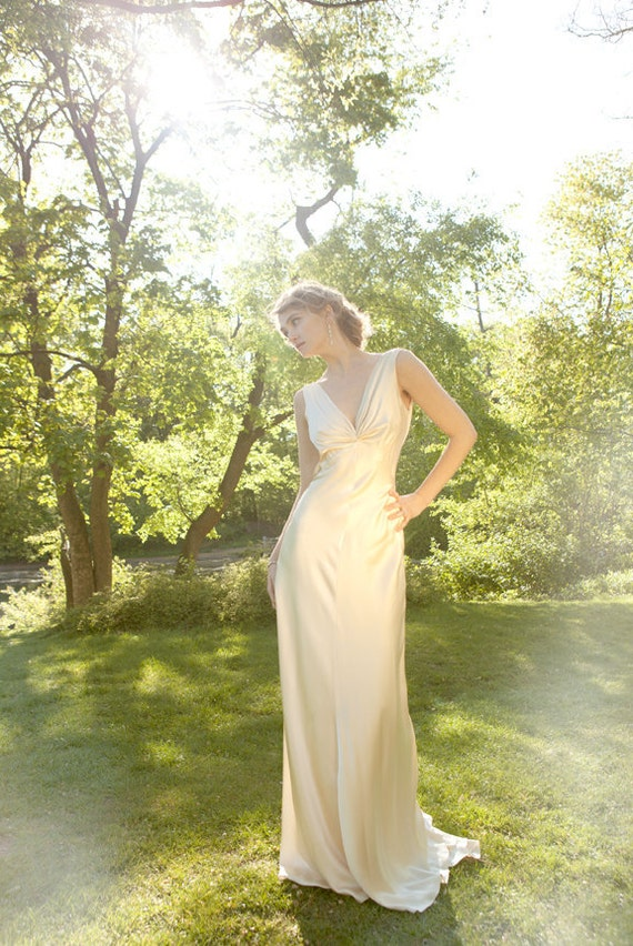 "1930s Draped V Neck Art Deco bias cut silk charmeuse retro wedding gown, Champagne, ""Mila"" gown, Low back, backless, customizable"