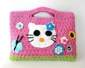 Crochet Hello Kitty hand bag purse for your little girl