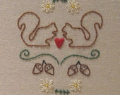 Squirrels in love - PDF Embroidery Pattern, part of proceeds donated to ACS