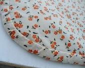 Creamy Orange Flower Print Dish Drainer Quilt