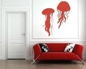 Jellyfish Wall Decal, Nautical Wall Decal, Beach Decor, Animal Wall Decal, Marine Decal, Coastal Decor Beach, Dorm Decor, Nursery Decor