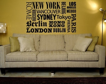 New York Wall Decal, New York Wall Art, Travel Wall Decal, Wanderlust Decal, Landmark Wall Decal, Dorm Decor, Paris Wall Decal
