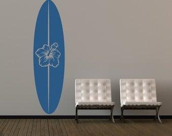 Surfboard Decal, Surfboard Wall Art, Surf Decor, Beach Decor, Coastal Decor Beach, Sports Wall Decal, Dorm Decor, Tropical Wall Decal
