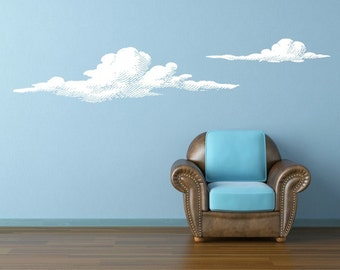 Cloud Decals, Cloud Wall Decal, Modern Nursery Decor, Decor for Kids, Dorm Decorations, Nature Wall Decal, Apartment Wall Decor
