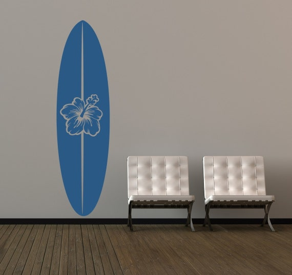 Surfboard Decal, Surfboard Wall Art, Surf Decor, Beach Decor, Coastal Decor Beach, Sports Wall Decal, Dorm Decor, Tropical Wall Decal