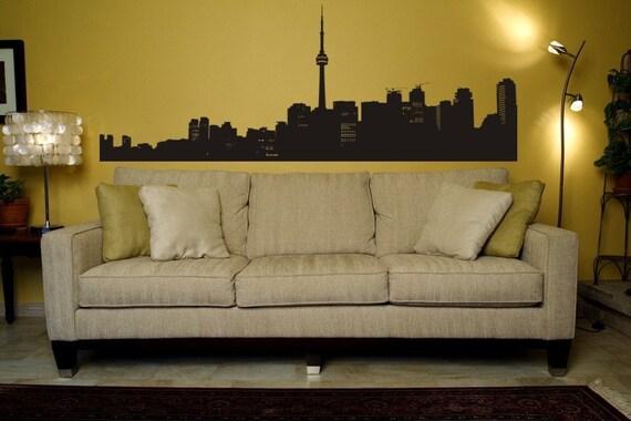 Toronto Wall Decal, Toronto Skyline, Urban Wall Art, Toronto Cityscape, Nursery Wall Decal, College Apartment Decor, Office Decor, Canada