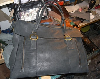 grey leather carryall bag  original usd450 FREE SHIPPING