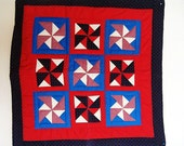 """Red White and Blue Pinwheel Quilt wall hanging, table topper mini quilt apple border- country farmhouse americana 36"""" x36"""""""