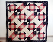 """Red, beige and Blue Flowery print pattern Quilt wall hanging, table topper mini quilt  country cottage chic  36"""" x36"""""""