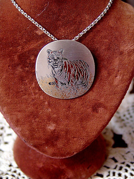 Vintage Damascene TIGER  Audubon Necklace by Reed and Barton