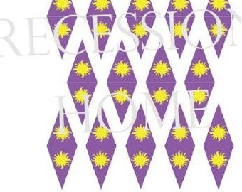 DIY Rapunzel Decoration - Printable Sun Flag mini pennant