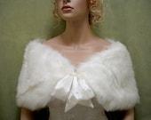Sale - Ivory faux fur bridal wrap shrug stole shawl Cape C002 - was 49.99