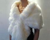 White bridal faux fur wrap shrug stole shawl cape A001-White