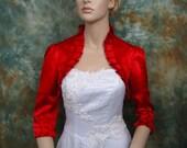 Red 3/4 sleeve satin wedding bolero jacket shrug