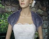 Silver gray faux fur bridal shrug stole shawl wrap
