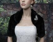 Sale - Black faux fur bolero jacket FB004-Black was 89.99