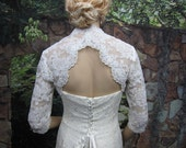 Sale -Ivory 3/4 sleeve lace bolero wedding jacket with keyhole back - was 129.99