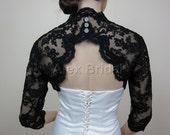 Sale-Black 3/4 sleeve bridal bolero bridal jacket bridal shrug alencon lace bolero jacket wedding bolero jacket keyhole back-was 129.99