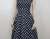 Vintage inspired dress bridesmaid dress cotton sateen polka dot