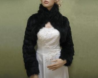 Black faux fur jacket shrug bolero Wrap FB002-Black