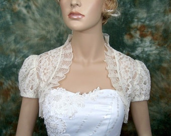 Short sleeve corded lace wedding bolero jacket shrug --- available in ivory, off-white and white