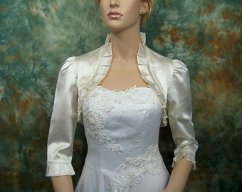 Ivory 3/4 sleeve satin wedding bolero jacket shrug