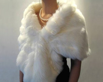 Ivory faux fur wrap bridal wrap faux fur shrug faux fur stole faux fur shawl faux fur cape A001