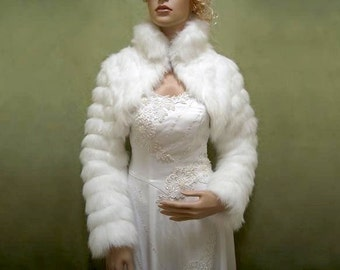 White faux fur jacket shrug bolero Wrap FB002-White