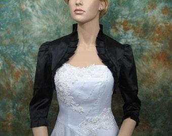 Black 3/4 sleeve satin wedding bolero jacket shrug