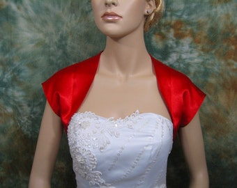 Red sleeveless satin bolero wedding bolero jacket shrug