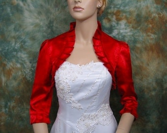 Red 3/4 sleeve satin bolero wedding bolero jacket shrug