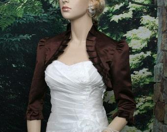 Brown 3/4 sleeve satin bolero wedding bolero jacket shrug