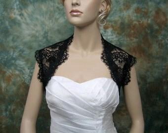 Black sleeveless bridal lace wedding bolero jacket