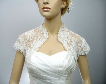 Ivory cap sleeve bridal shrug alencon lace bolero wedding bolero jacket