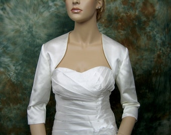 3/4 sleeve satin wedding bolero jacket shrug - available in ivory and white
