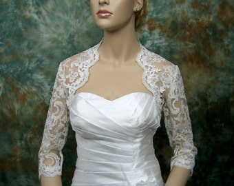 Wedding bolero, lace bolero, bridal bolero jacket, Ivory bolero, white bolero, 3/4 sleeve lace bolero, alencon lace