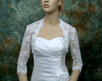 Lace bolero wedding bolero white 3/4 sleeve bridal alencon lace wedding bolero jacket