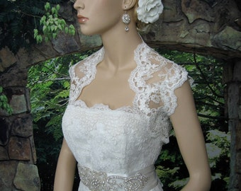 Lace bolero, wedding bolero, wedding jacket, ivory sleeveless bridal re-embroidered lace wedding bolero jacket