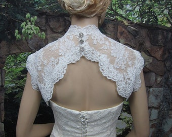 Bridal bolero, lace bolero, wedding jacket, bolero jacket, wedding bolero, keyhole back, ivory alencon lace bolero