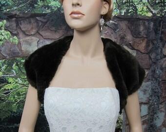 Brown faux fur bridal shrug stole shawl wrap