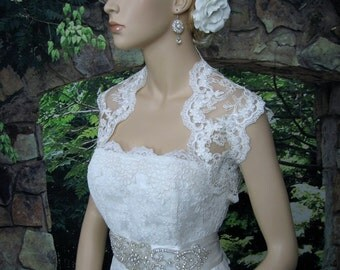 Lace bolero wedding jacket white sleeveless bridal re-embroidered lace wedding bolero jacket