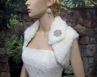 Ivory faux fur bolero faux fur shrug FS003-Ivory