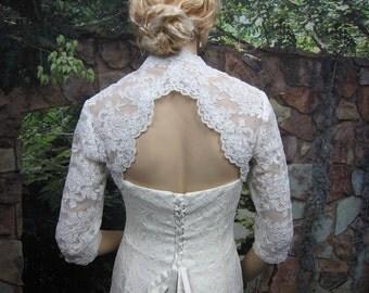 Sale -Ivory 3/4 sleeve lace bolero wedding jacket with keyhole back - was 129.99