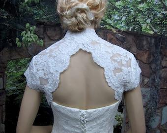 Sale - White cap sleeve bridal lace bolero jacket - keyhole back - alencon lace - was 129.99