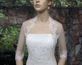 Wedding bolero, lace bolero, bridal bolero jacket, Ivory bolero, 3/4 sleeve lace bolero, tulle bolero