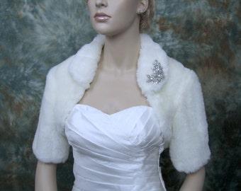 Off-white faux fur bolero faux fur shrug FB004-OffWhite