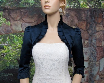 Navy Blue 3/4 sleeve satin wedding bolero jacket shrug