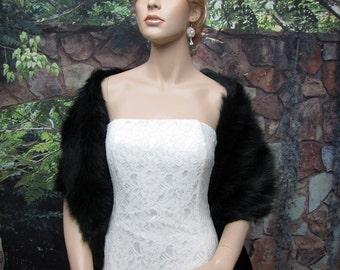 Black bridal faux fur stole wrap shrug A002