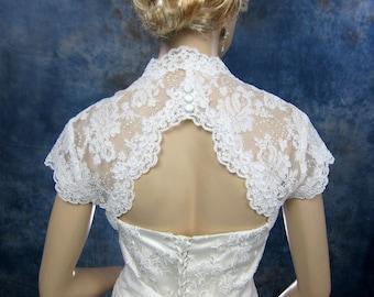Lace bolero wedding bolero bridal jacket ivory cap sleeve keyhole back alencon lace